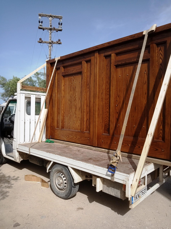 Ξύλινη ενισχυμένη αυλόπορτα ειδικής κατασκευής προς παράδοση 2